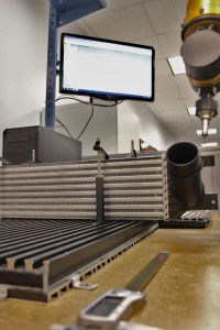 Obtaining stock intercooler dimensions via coordinate measuring machine