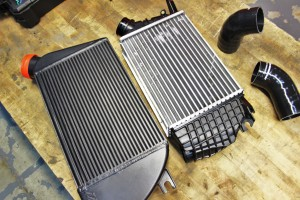 Mishimoto prototype intercooler (left) and stock intercooler (right)