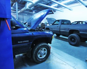 Test vehicles in shop