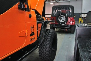 Wrangler test vehicles in shop