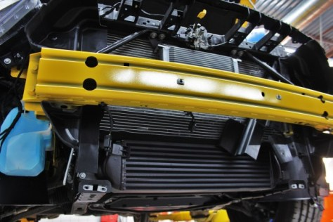 Painted Mishimoto 2015 Mustang EcoBoost Intercooler installed