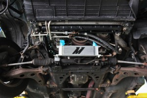 Prototype Mazda Miata oil cooler kit, mounted