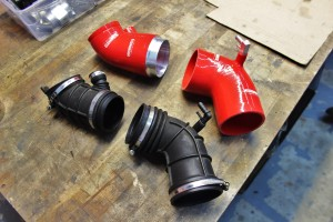 Mishimoto prototype hoses (top) and stock hoses (bottom)