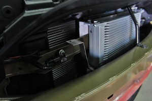 Fabricated Ford Fiesta ST oil cooler brackets installed