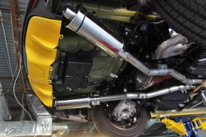Mishimoto third prototype for the 2015 Mustang exhaust mockup