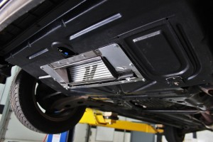 Mishimoto oil cooler shroud/duct assembly installed