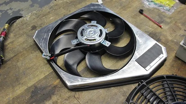 Ford Fiesta ST radiator fan shroud fabrication