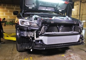 Mishimoto's WRX intercooler installed on the 2015 STI