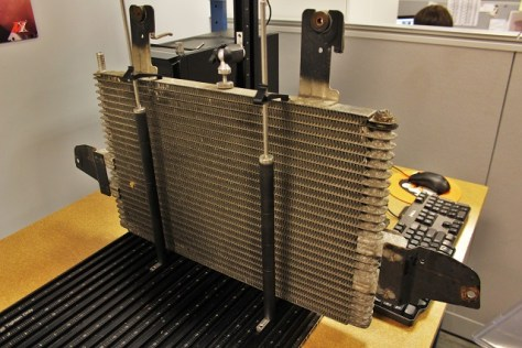 Factory 6.0 transmission cooler on CMM table
