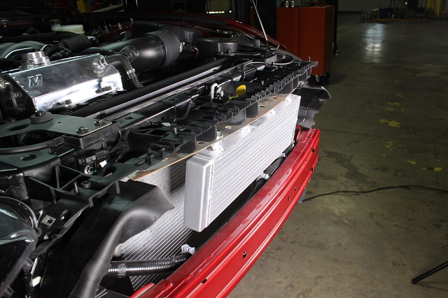 Large Mustang oil cooler prototype installed