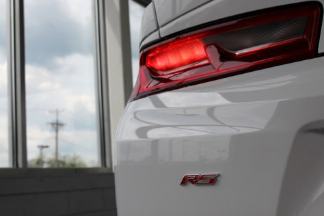 The rear angle of our 2016 Turbo Camaro (with the RS appearance package)