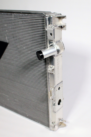 Mishimoto's secondary system Super Duty radiator, driver's side view.