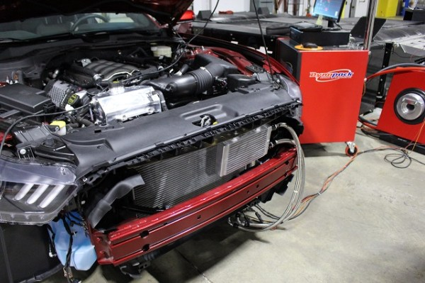 Mustang oil cooler prototype installed for testing