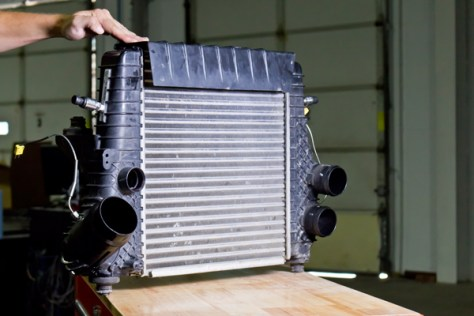 The stock 2011-14 F-150 EcoBoost intercooler