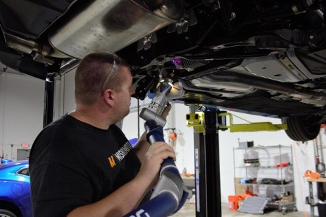 Mishimoto engineer scanning the Focus RS rear differential