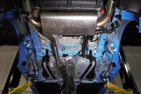 Focus RS with the rear subframe removed