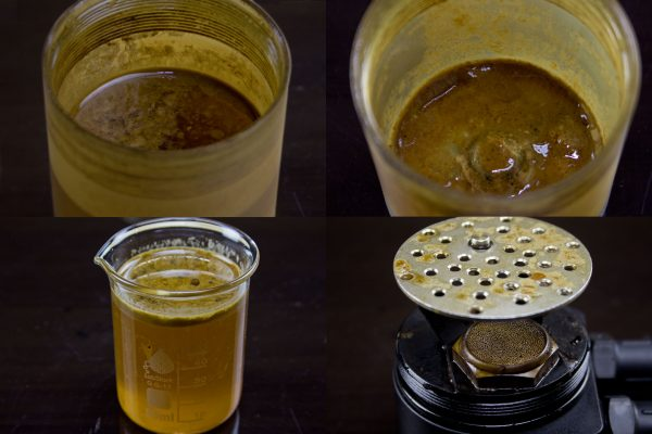Even after emptying almost 60ml of blow-by, a layer of sludge held on to the bottom of the can.  In the bottom-right image you can also see how effective our 50-micron filter is at removing oil vapor from the returning gases.