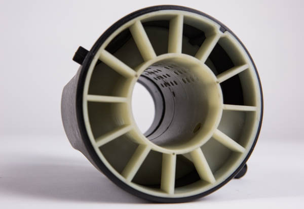 An inside look at the turbo muffler. The baffling and fins change the pressure of the air, in turn creating different sound wavelengths to cancel out the high pitched whine of the turbo.