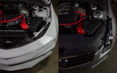 A side by side comparison of how the silicone induction hose will look mounted in the engine bay of your Camaro or ATS.