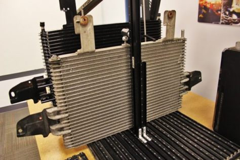 The transmission coolers from the similarly aged Ford Powerstroke 6.0L. Ford equipped their diesel powered towing machine with a 26-row cooler and had an optional 31-row upgrade from the factory.