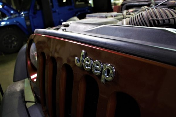 The front grill of our loaner 2008 Jeep Wrangler