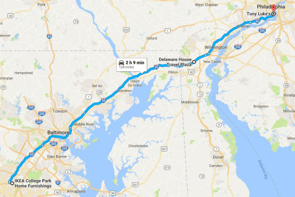 The route that the main caravan follows during the cruise, with a pit stop at the Delaware House Travel plaza to refuel with gas and caffeine.