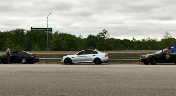 One of the group's E90 M3 and W213 E-Class snagged by a Maryland State Trooper in the Perrysville Md. area. (Courtesy of Craig Clemmons)