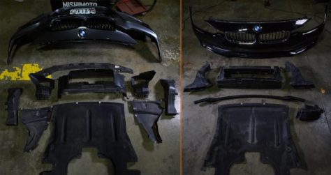 A comparison of the shrouding and duct work found behind the M-Sport fascia, left, and the standard fascia, right, on the F30's.