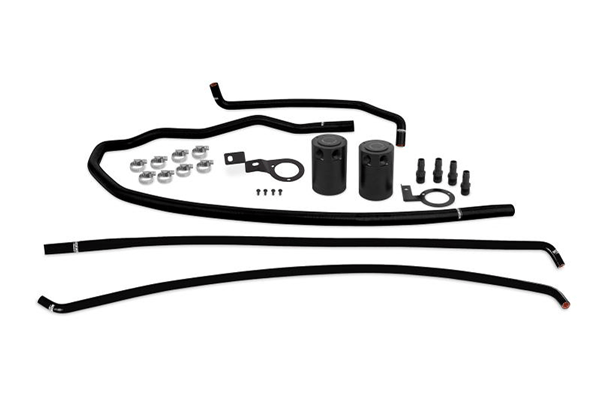 The full 2015-16 WRX catch can kit features a catch can for both the PCV side and the CCV side.