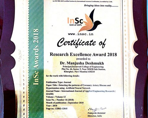 research and Excellence Award by Institute of Scholars