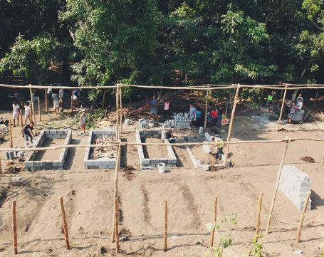 Permaculture garden at Secondary School in construction