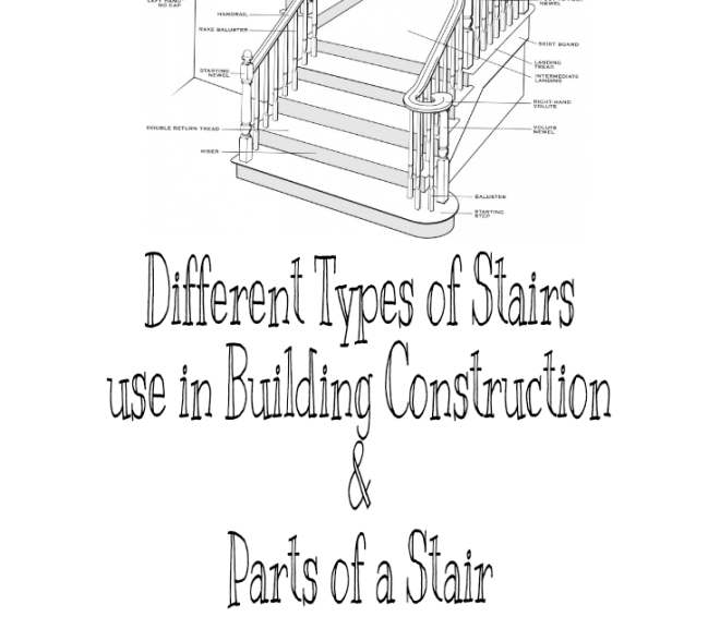 Different Types of Stairs used in Building Constructions and Parts of a Stair