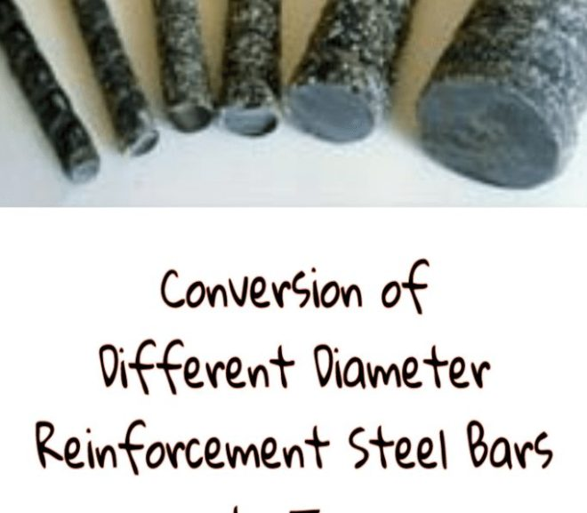 Conversion of different Diameter Reinforcement Steel Bars to Tons