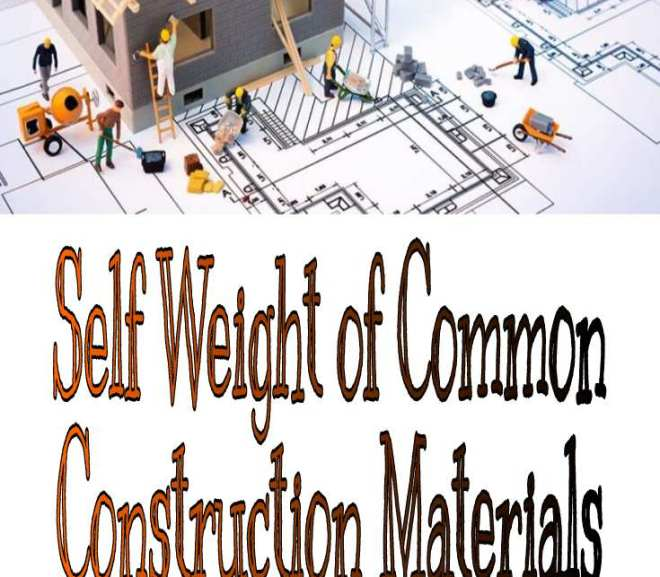 Self Weight of Common Construction Materials