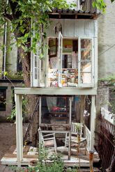 Built behind artist Alexandra Meyn_s Brooklyn apartment_ this eye_catching treehouse only cost _400_. The structur