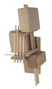 Construction 7_ wood sculpture inspired by architectural models