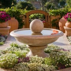 Elegant Mediterranian Inspired Fountain Bed _frontyardlandscaping _landscapingideas _fountaindecor _