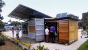 Emergency shelter provides water_ sanitation_ and power.... off the grid.