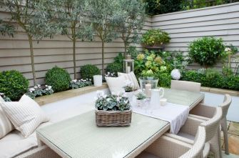 Get the look of this beautiful rustic little courtyard garden in an instant with some artificial tre.