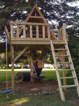Here_s a shot of the treehouse we just finished_ for our daughter Liberty. It took about three weeks_ but most o