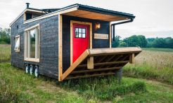 If you're looking for a tiny home that doesn't skimp on luxurious features_ feast your eyes on the e. This comfortable_ eco_friendly home is a 340_square_foot sustainably built dwelling