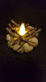 Made this with my 4 year old nephew. This was absolutely fun to make...used glue dots to set the stones on the battery tea light_ then used Elmer_s glue for stones...added the sticks used