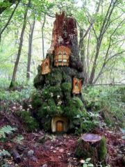 Mini Treehouse Made Out Of Old Tree Stump