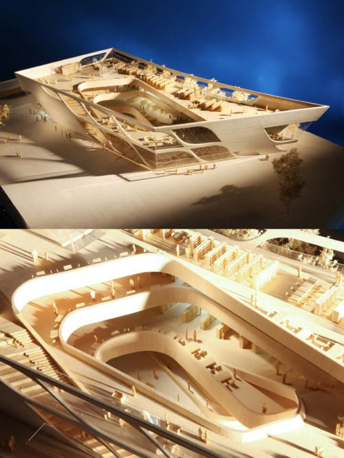 Model of the Surrey City Centre Library in Surrey_ British Columbia by Bing Thom Architects