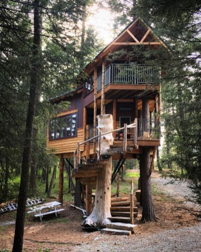 Montana Tree house Retreat_ FEATURED On The Tree house Guys on DIY Network_ Nestled on a private woo...
