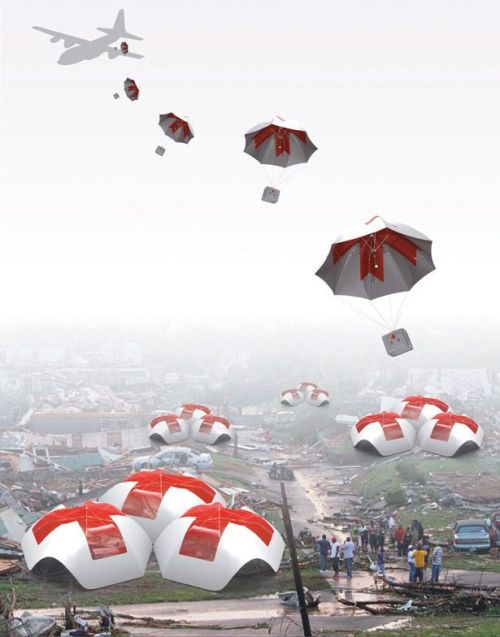 Parachute Shelter Provides Immediate Relief Aid and A Shelter to Hard_to_Reach Locations
