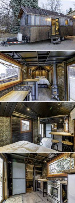 The Earth and Sky Palace features reclaimed heart pine and blue stained cedar_ giving it a weathered.