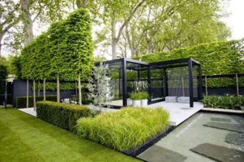 This is the modern formal where plants are only one of the elements that makes this garden a success.The formal trees wrap the design and draws the attention into thelandscape.