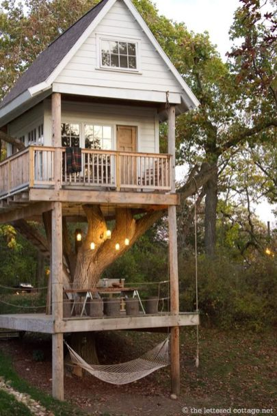 This looks so awesome_ 3 in 1_ An Ultimate Tree House with Hammock_ Terrace and Rooms
