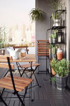 Your outdoor paradise is possible_ even in the smallest of spaces_ The IKEA TÄRNÖ table and two chai.
